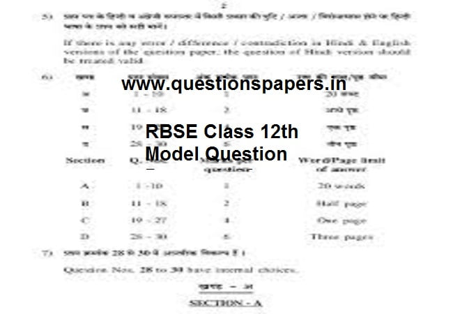 RBSE Class 12th Model Question Papers 2020