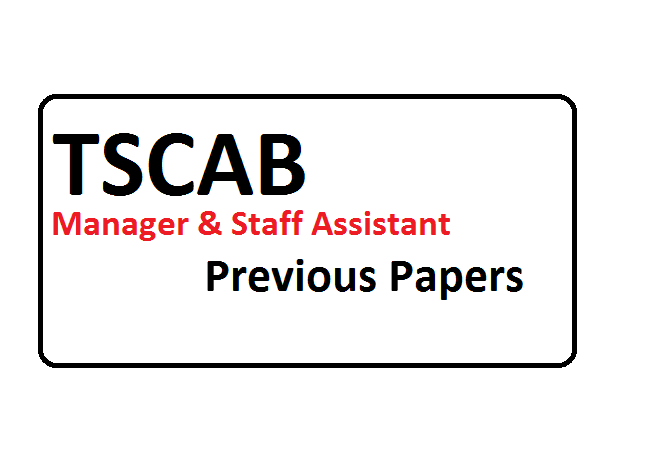 TSCAB Manager & Staff Assistant Previous Papers 2020
