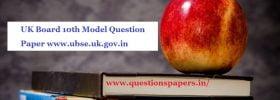 UK Board 10th Model Question Paper 2020 www.ubse.uk.gov.in